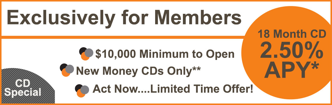 18 Month CD, APY 2.50%, $10,000 min to open, limited time